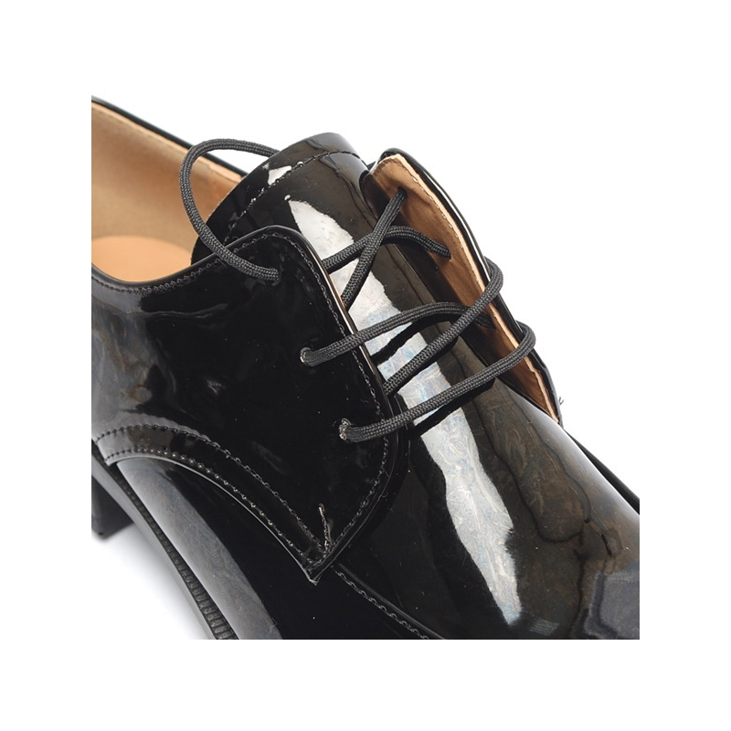 Women S Apron Toe Glossy Black Platform Low Heel Oxfords Shoes
