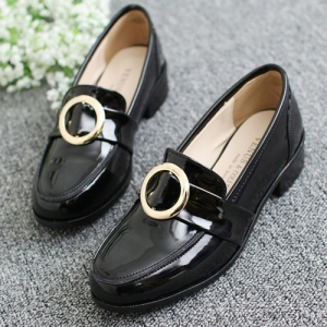 Apron Toe Metallic Gold Ring Loafers Shoes