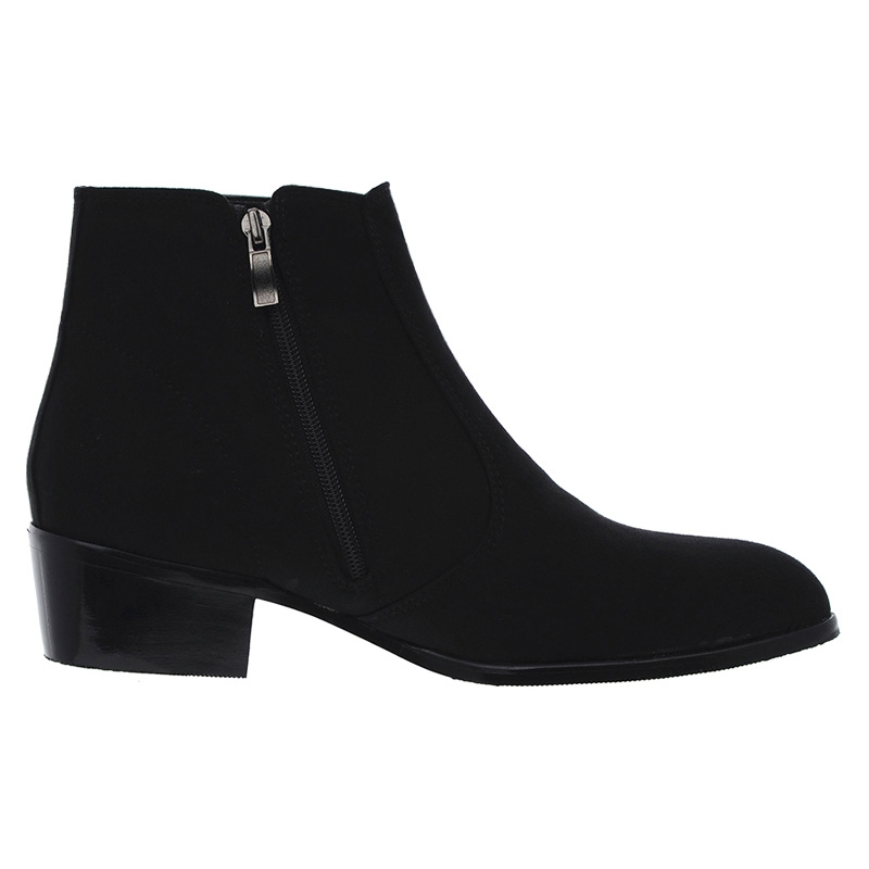 Men S Round Toe Side Zip Black Synthetic Suede Dress Boots