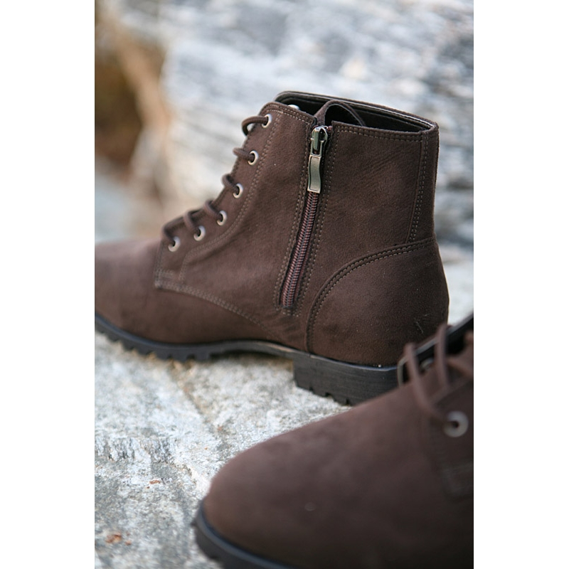 Mens New Vintage Side Zip Lace Up Combat Boots Fashion Is