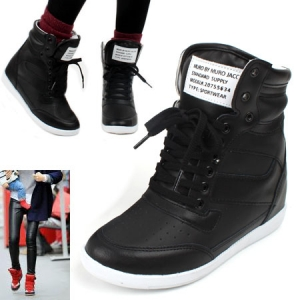 151035d6a95 Colorful wedge Sneakers Ankle High top Womens hidden increase insole shoes