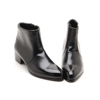 Mens black synthetic Leather side zipper Ankle boots made in KOREA
