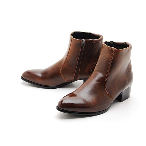 mens synthetic leather side zipper ankle boots fashion