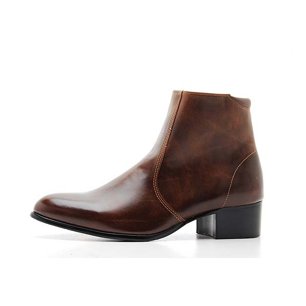 Men's Brown Synthetic Leather Side Zip Dress Ankle Boots