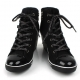 womens lace up wedge sneakers high top zipper shoes black