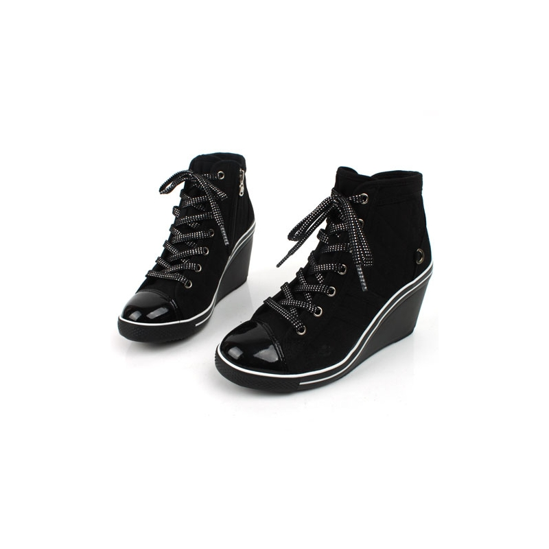 womens cap toe lace up wedge sneakers high top zipper shoes black