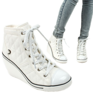 Black High wedge heel sneakers White High wedge heel sneakers 871c23bb00