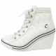 womens lace up wedge sneakers high top zipper shoes  white
