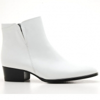 Mens white real Leather side zipper Ankle boots made in KOREA US5.5-10.5