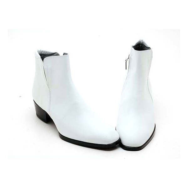mens real cow leather side zipper ankle dress shoes boots