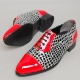 Mens synthetic leather glitter red & dot black Lace up Shoes