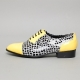 Mens synthetic leather glitter Yellow & dot black Lace up Shoes