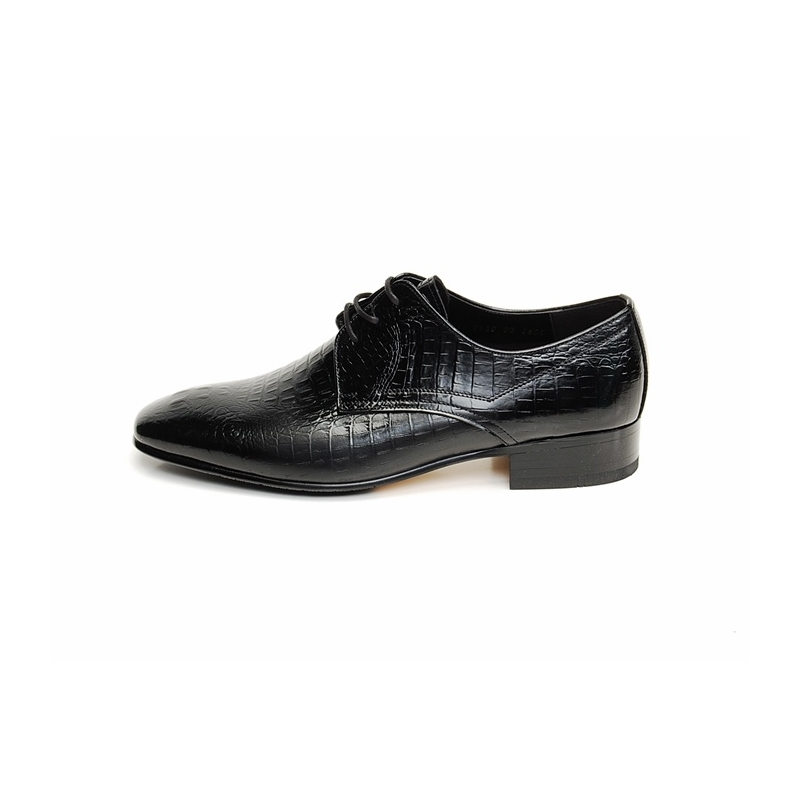 Mens black real Cow Leather Lace Up crocodile skin style dress shoes