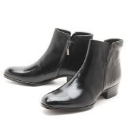 Mens black real Leather side zipper Ankle boots made in KOREA US5.5-10.5
