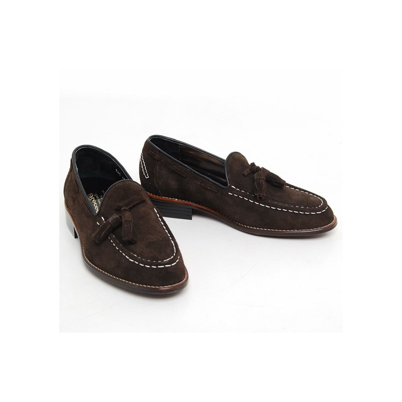 mens stitch tassel loafer slip on shoes material real cow