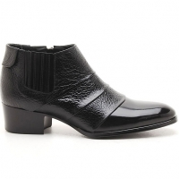 Mens black real Leather wrinkle side zip Ankle boots made in KOREA US5.5-10