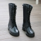 Womens black cow leather eyelet lace up zip top button combat sole military look hand made mid calf long boots