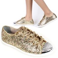 womens rock chic  lace up celebrity gold glitter combat boots shoes