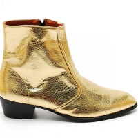 Mens glitter gold western zipper Ankle mid-calf boots made in KOREA US5.5-10.5
