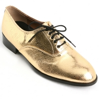 Mens oxford Lace Up dress shoes glitter gold made in KOREA US 5.5 - 10.5