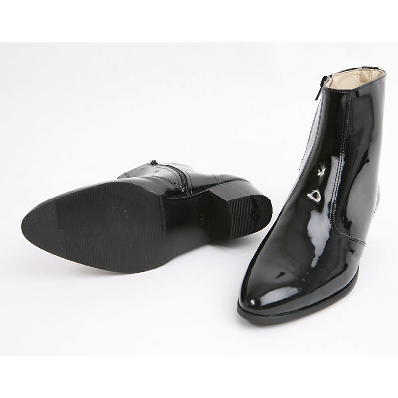 9565a5ed2af2 Mens inner real leather western glossy black side zip high heel ankle boots  made in KOREA US5.5-10.5