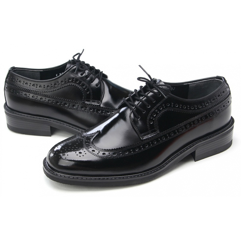 4c090bb3eedea Mens wingtips black cow leather Dress shoes