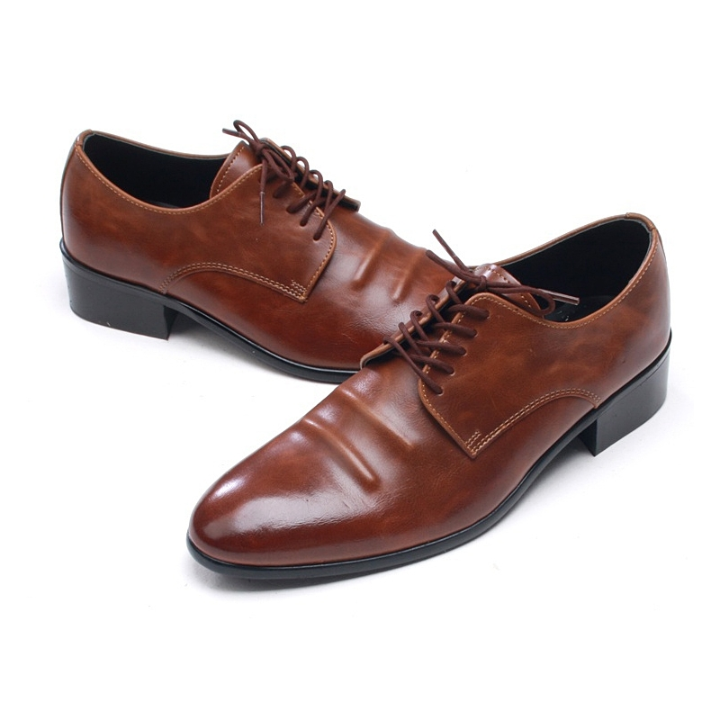 df169237be84 Mens round toe wrinkles lace up Dress shoes
