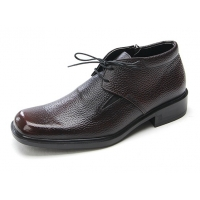 Mens square toe brown cow leather side zip urethane sole ankle boots dress shoes US 6.5 - 10.5