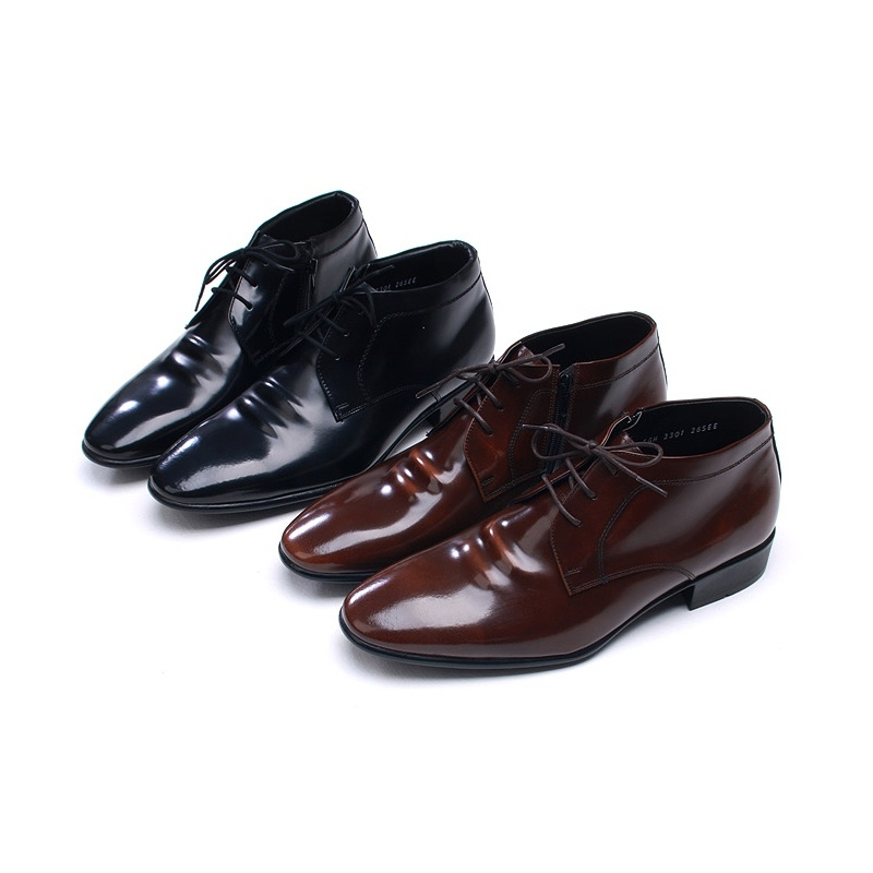 0cb08575ceb34 Mens pointed toe wrinkles black leather ankle dress shoes