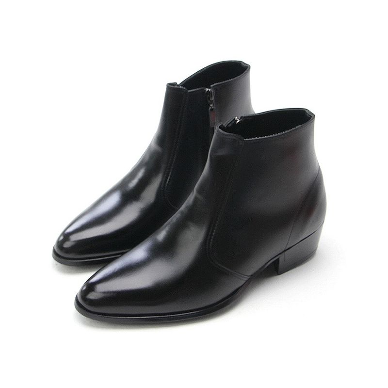 Mens Pointed Toe High Heels Ankle Boots