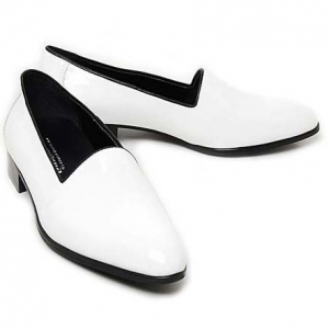 glossy white loafers