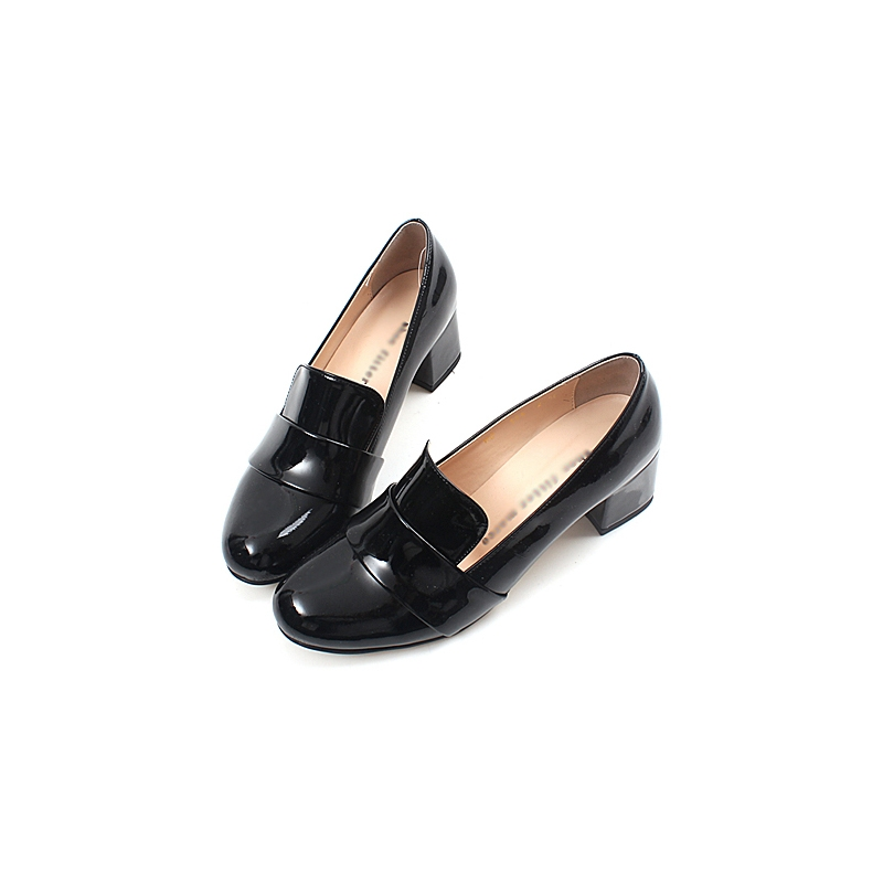 259446c4477 chic beautiful glossy comfortable bold 2 inch heels ladies designer loafers  black shoes for women
