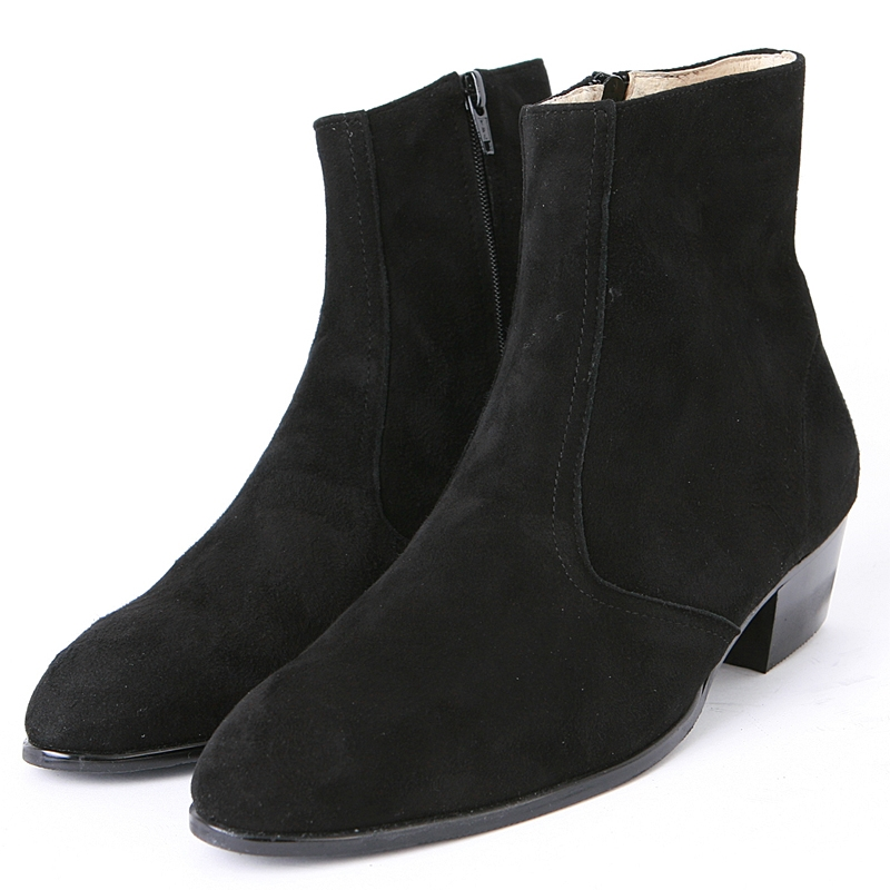 f4c4e79a51b6 Mens chic black real suede ankle boots high heels side zip hand made korea  comfortable shoes