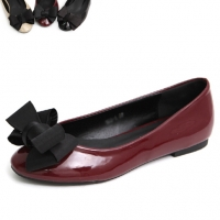 womens chic front ribbon decoration Black Wine Beige glossy synthetic leather classic style flat shoes