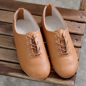 395589d9e3c1f womens brown synthetic leather plain toe eyelet lace up flat oxford