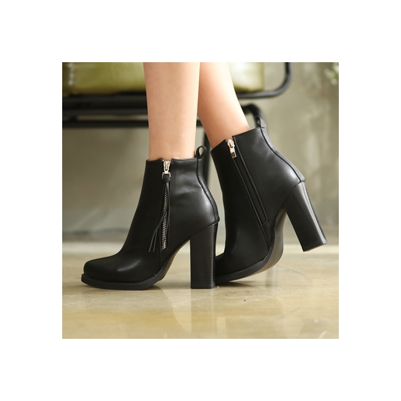 8be8bfa58c6 womens black synthetic leather pointed toe both side zip tassel back tap  square chunky high heels ankle boots US size 5.5-8