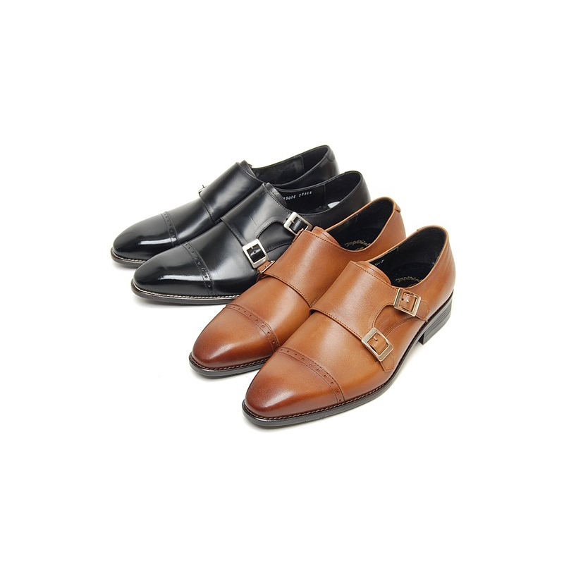 Mens Black Two Buckle Monk Straight Tip Dress Shoes