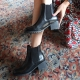 Women's round toe chelsea Combat chunky block heel Boots