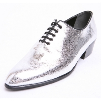 Men's plain toe glitter silver lace up high heels oxfords