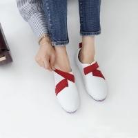 Women's leather cross ribbon velcro sneakers red