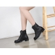Women's synthetic leather round straight tip toe side zip closure lace ups combat  heels lace ups ankle boots black