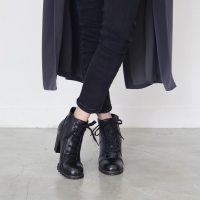 Women's black leather high heels ankle boots