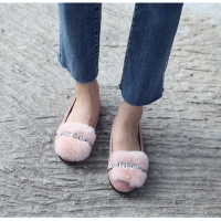 Women's rabbit fur front jewel detailed inner fur leather flats