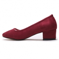 women's synthetic suede round toe chunky med heels