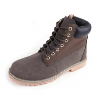 Men's brown comfy padding entrance combat sole ankle boots