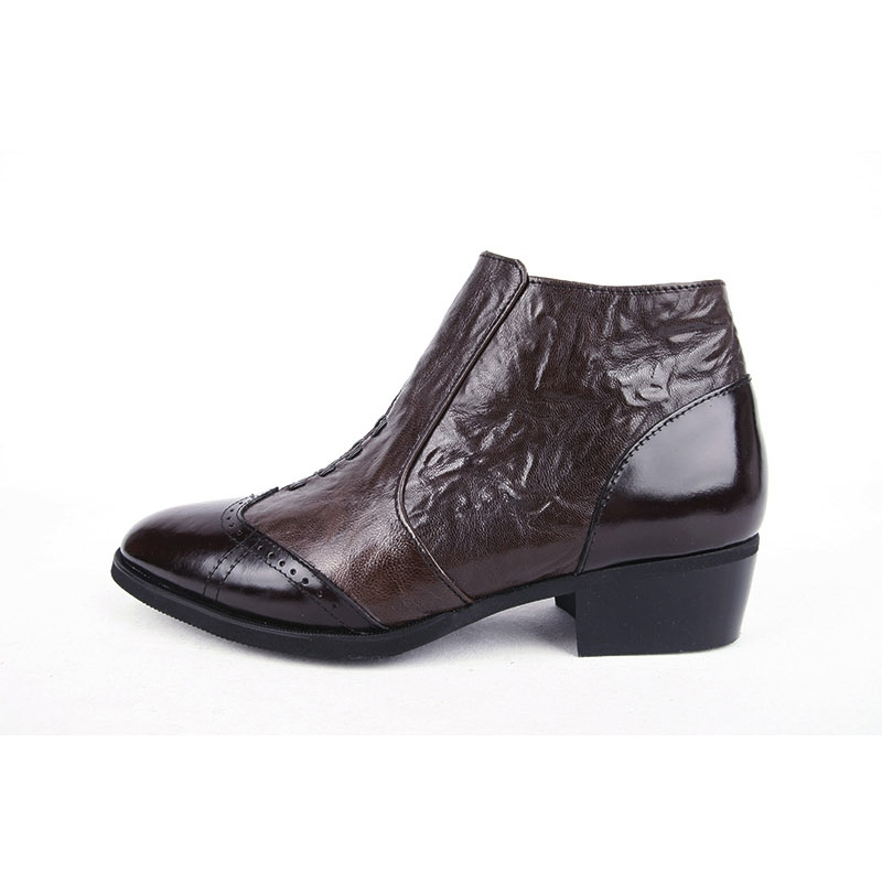 Men S Wingtips Wrinkle Brown Leather Ankle Boots