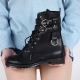Women's round cap toe synthetic leather lace ups two buckle side zip long ankle boots