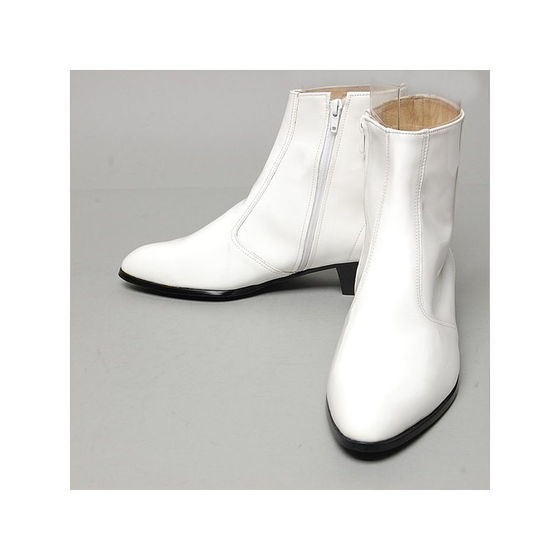 99c487ef09c375 Men's inner real leather western glossy white side zip high heel ankle boots  made in KOREA US6-10.5