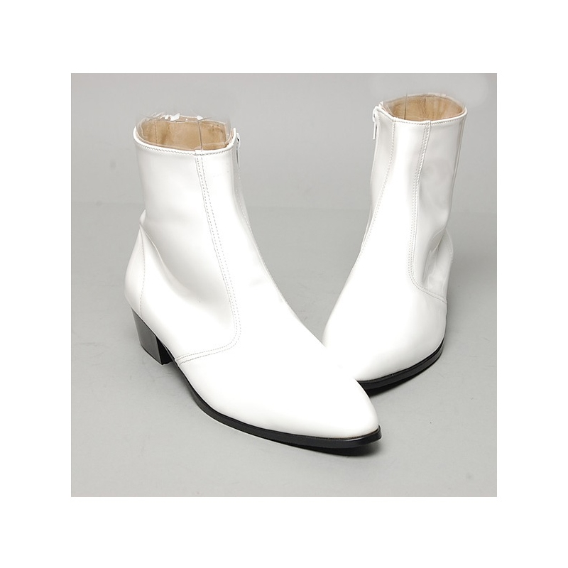 59e17a620fd Men's inner real leather western glossy white side zip high heel ...