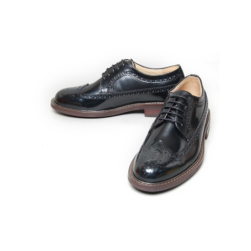 1e8f028e5892fe Men's black leather wing tip longwing brogues Oxford shoes